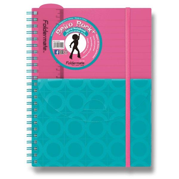 Papír tiskopisy - Spirálový blok s kapsou FolderMate Plus růžovo/modrý