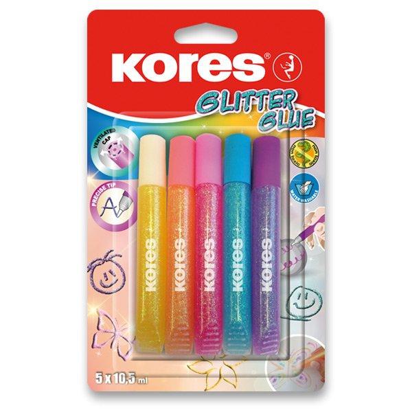 Školní a výtvarné potřeby - Dekorační lepidlo Kores Glitter Glue 5 x 10,5 ml, pastelové barvy