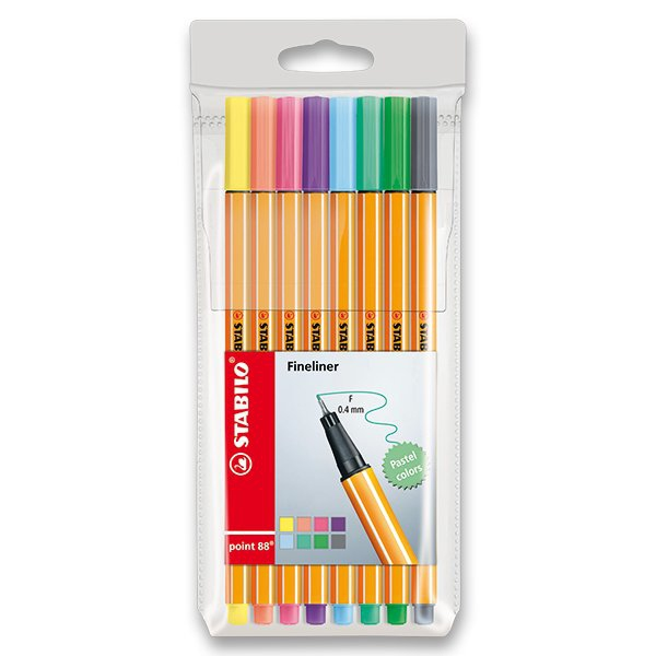 Psací potřeby - Liner Stabilo Point 88 sada 8 pastelových barev