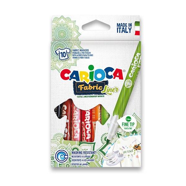 Psací potřeby - Fixy Carioca Fabric 10 barev, slabý hrot