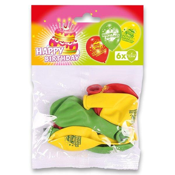 Školní a výtvarné potřeby - Nafukovací balónky happy birthday, 6ks