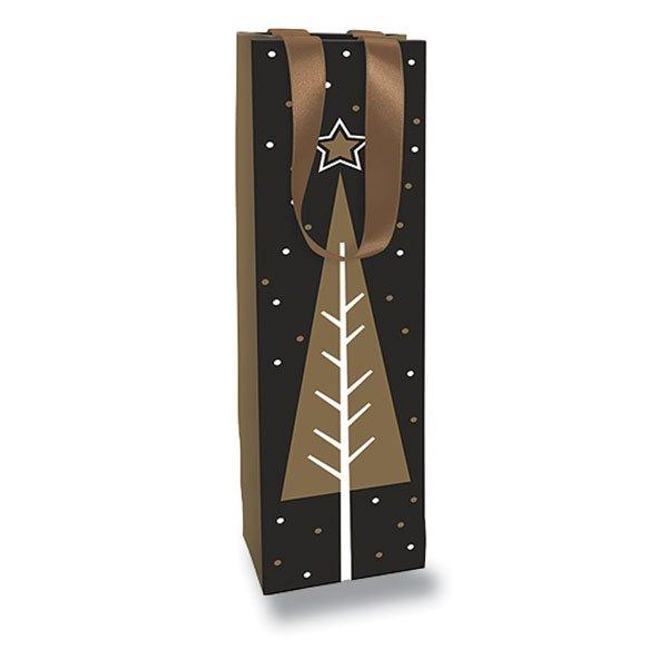 Obalový materiál drogerie - Dárková taška Christmas Traditional Chic 100 x 100 x 400 mm, na lahev