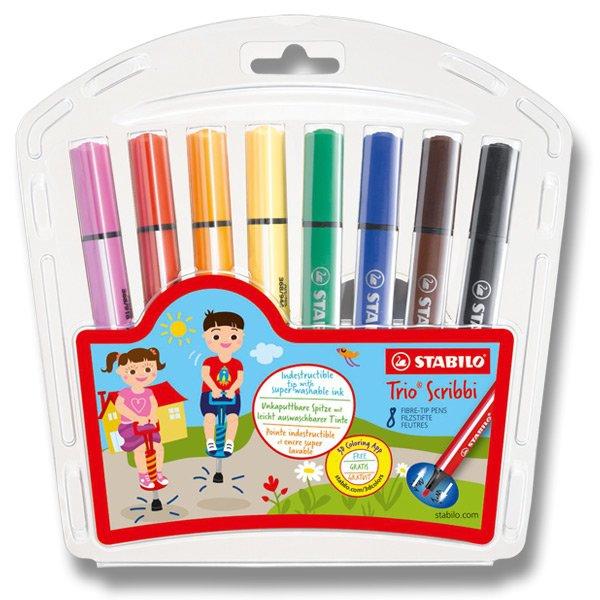 Psací potřeby - Dětské fixy Stabilo Trio Scribbi 8 barev