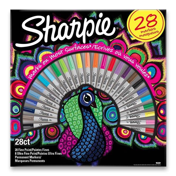 Psací potřeby - Permanentní popisovač Sharpie Fine + Ultra Fine sada 28 ks