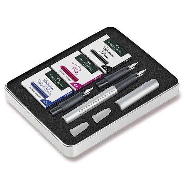 Psací potřeby - Kaligrafické plnicí pero Faber-Castell Grip 2011 sada, stříbrná