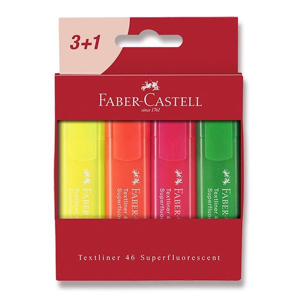 Psací potřeby - Zvýrazňovač Faber-Castell Textliner 46 4 kusy