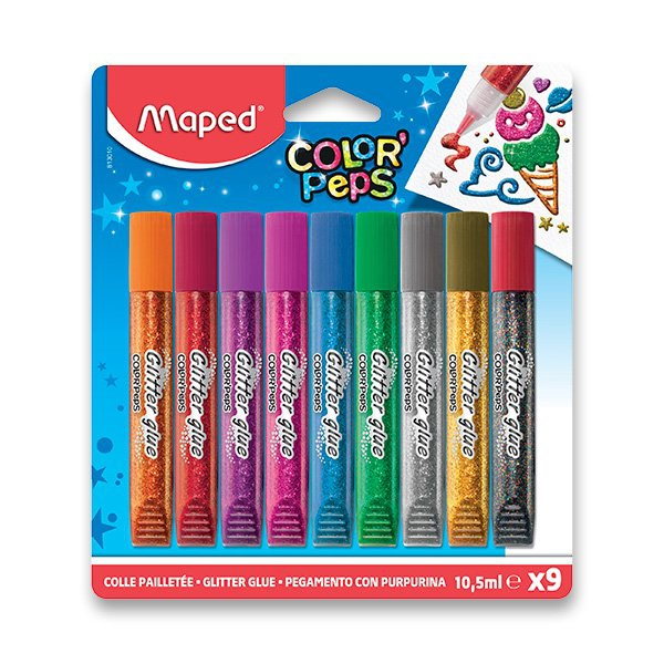 Školní a výtvarné potřeby - Dekorační lepidlo Maped Glitter Glue 9 x 10,5 ml