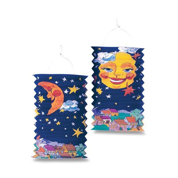 Školní a výtvarné potřeby - Papírový lampión Sun and Moon délka 28 cm