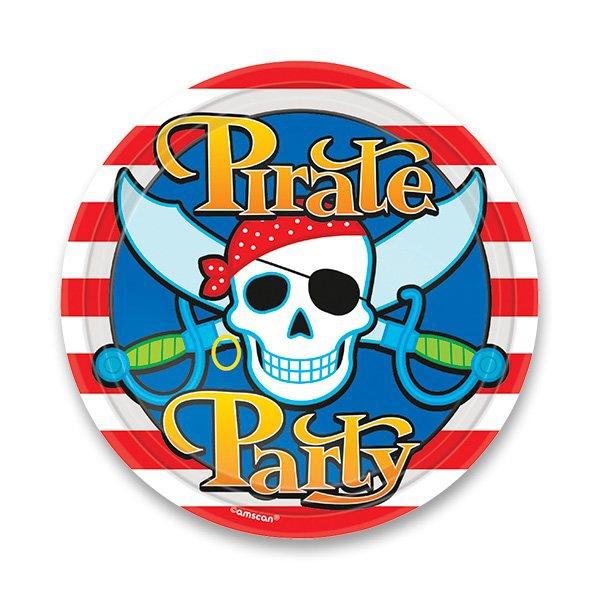 Školní a výtvarné potřeby - Papírové talířky Pirate Party průměr 23 cm, 8 ks