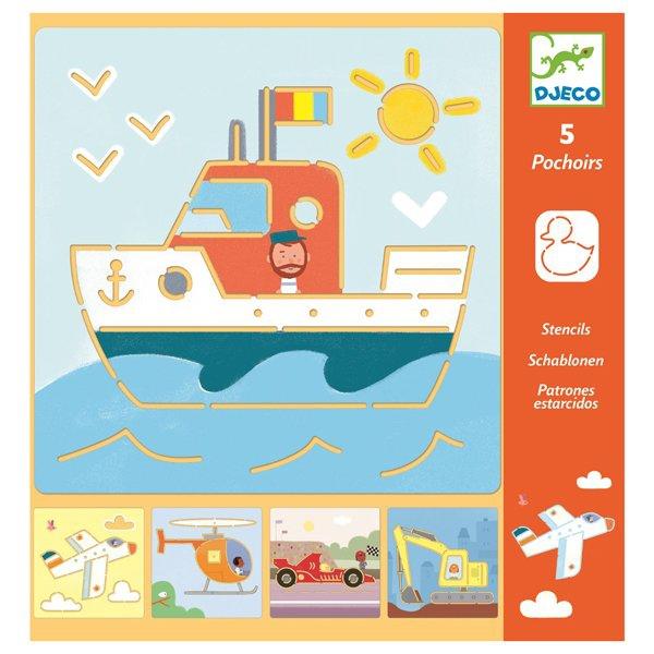 Školní a výtvarné potřeby - Šablony Djeco Doprava