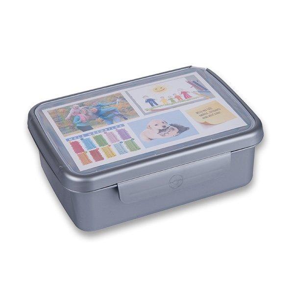 Školní a výtvarné potřeby - Svačinový box Zdravá sváča šedý (barva nerezu)