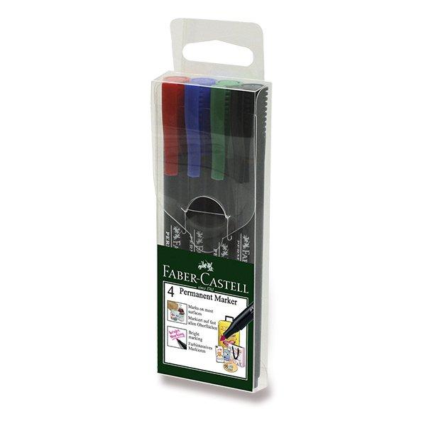 Psací potřeby - Popisovač Faber-Castell Slim Permanent Marker 4 ks