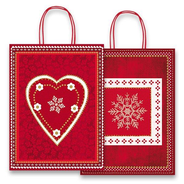 Obalový materiál drogerie - Dárková taška Fantasia Red & White 360 x 120 x 460 mm