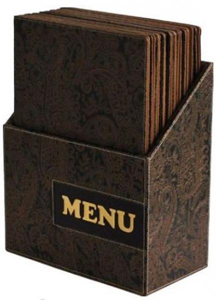 Kancelářské potřeby - Box s jídelními lístky DESIGN, hnědý ornament 10 ks