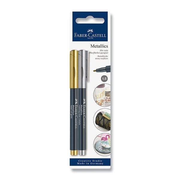Psací potřeby - Popisovač Faber-Castell Pitt Artist Pen Metallic zlatá a stříbrná