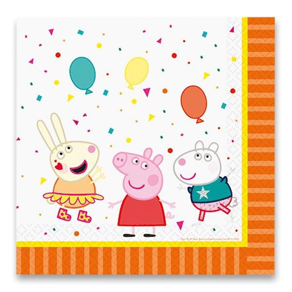 Školní a výtvarné potřeby - Papírové ubrousky Peppa Pig 33 x 33 cm, 16 ks