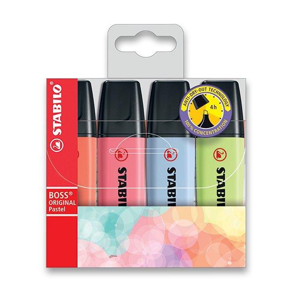 Psací potřeby - Zvýrazňovač Stabilo Boss Original Pastel sada 4 barev