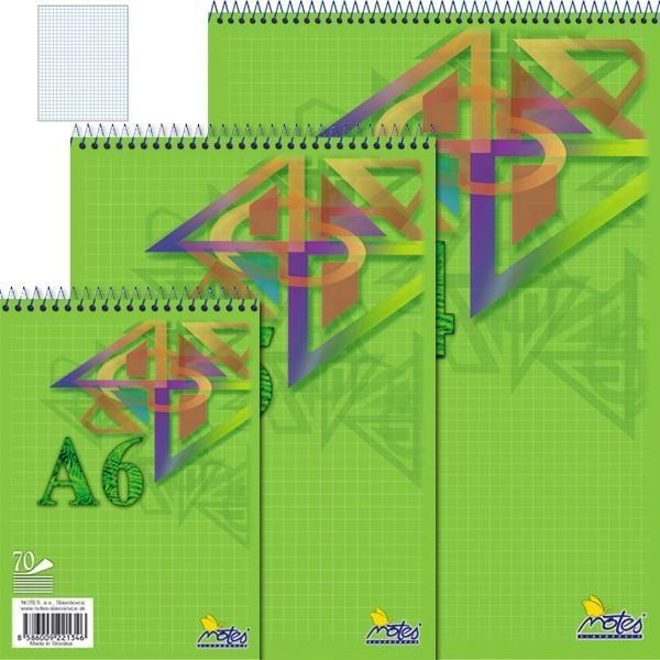 Papír tiskopisy - Spirálový blok A6 70 listů