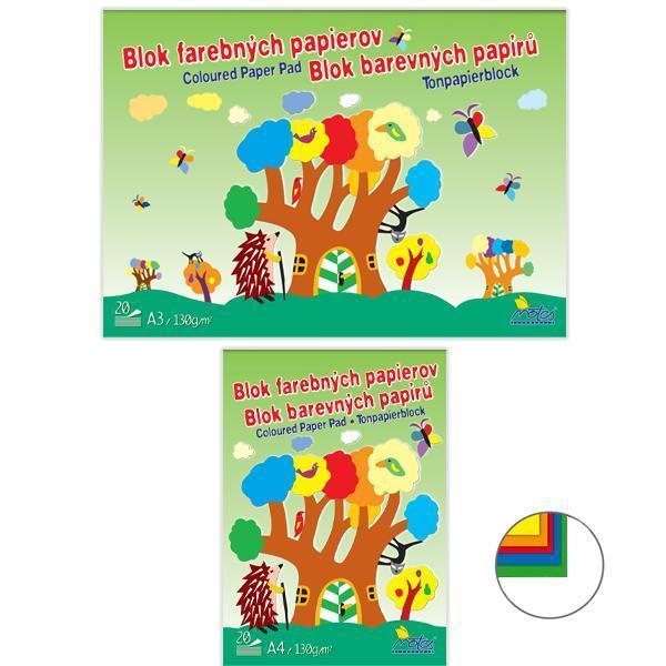 Papír tiskopisy - Skicák barevných papírů v bloku - 20ls/ 130g
