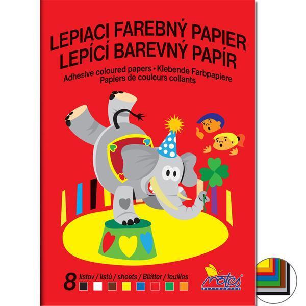 Papír tiskopisy - Barevné papíry školní lepící - složka 8 listů