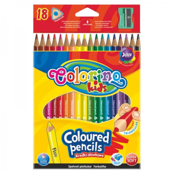 Psací potřeby - Pastelky Colorino trojhranné 18ks + ořezávátko