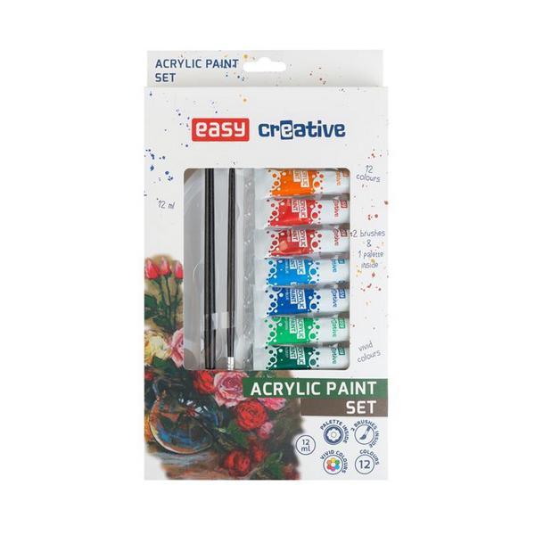 Školní a výtvarné potřeby - Akrylové barvy SET - 12 barev, 2 štětce, paleta