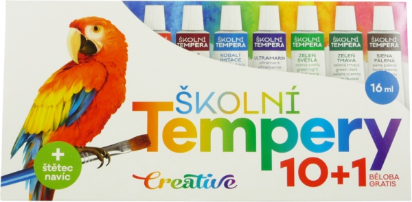 Školní a výtvarné potřeby - Temperové barvy 10ks + běloba, 16ml