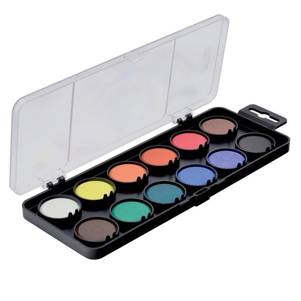 Školní a výtvarné potřeby - Barvy vodové - 30mm černý 12 barev