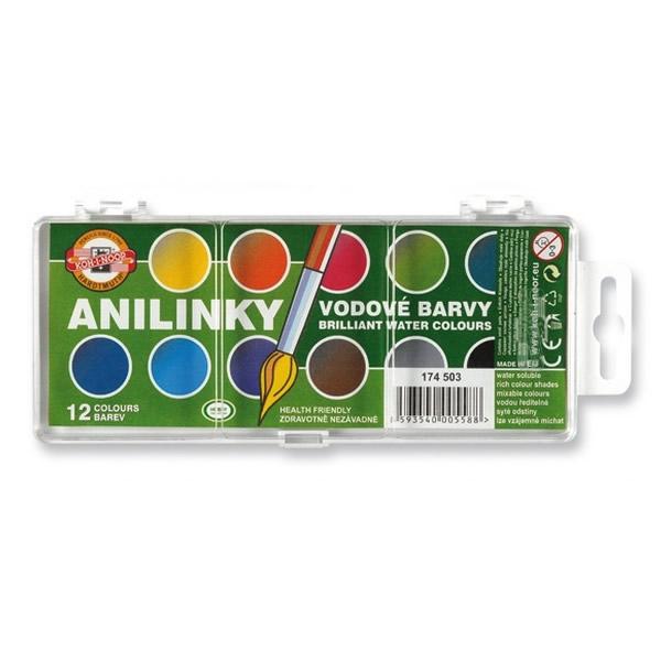 Školní a výtvarné potřeby - Vodové barvy brilantní KOH-I-NOOR ANILINKY - 22mm 12 barev