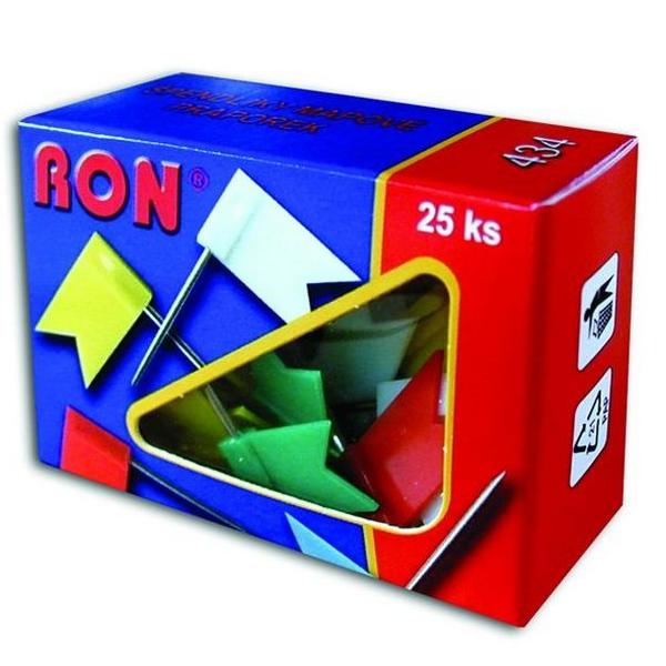 Kancelářské potřeby - RON - připínáčky nástěnkové praporek - 434/ 25ks