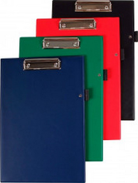 Třídění a archivace - Podložka psací s klipem Plastic, PVC, úchyt na tužku - A4  Mix barva