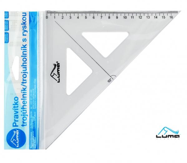 Školní a výtvarné potřeby - Pravítko trojúhelník s ryskou, transparentní, 16cm