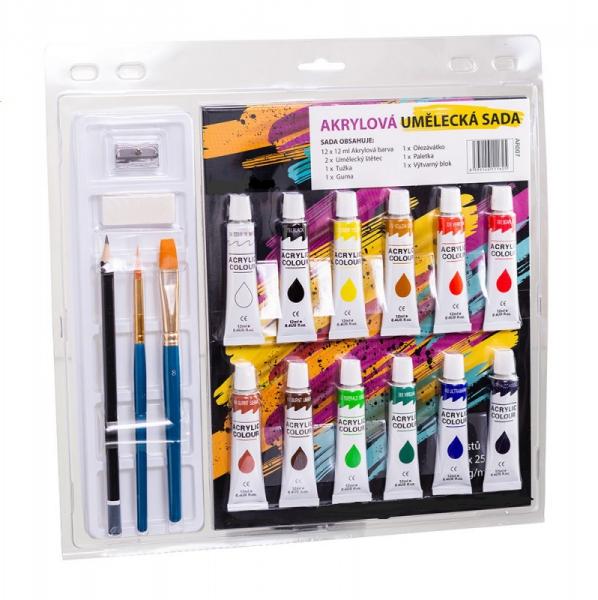 Školní a výtvarné potřeby - Akrylové barvy - umělecká sada 12x12 ml