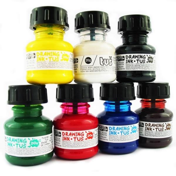 Psací potřeby - Tuše barevné jednotlivé barvy - 20g