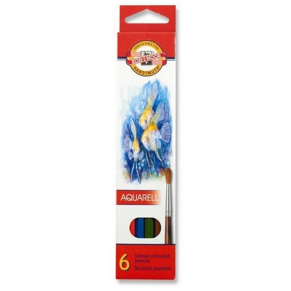 Psací potřeby - Pastelky KOH-I-NOOR Aquarell 3715 - 6 barev