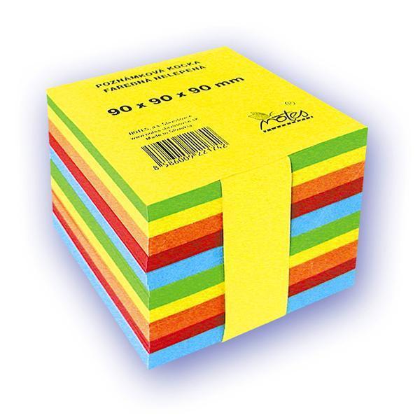 Papír tiskopisy - Poznámkový bloček barevný - nelepený - 90 × 90 × 90 mm