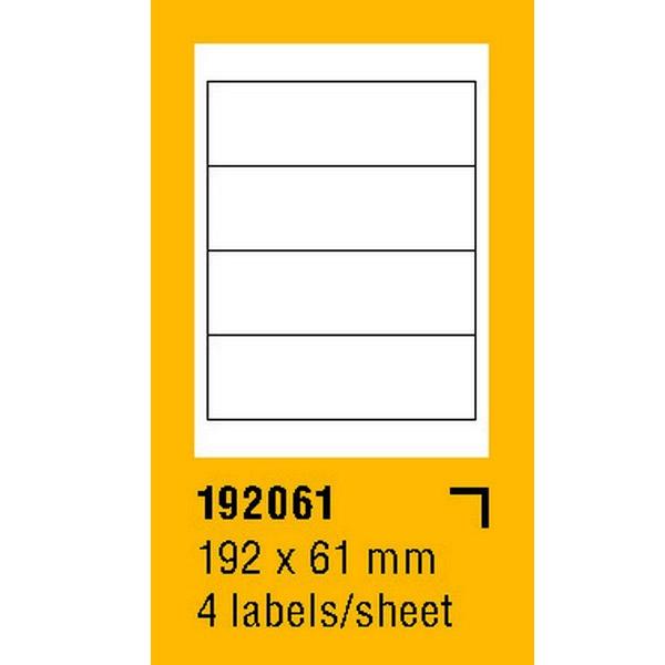 Papír tiskopisy - Etikety na archu SOREX - A4, 192 x 61mm, 400 etiket