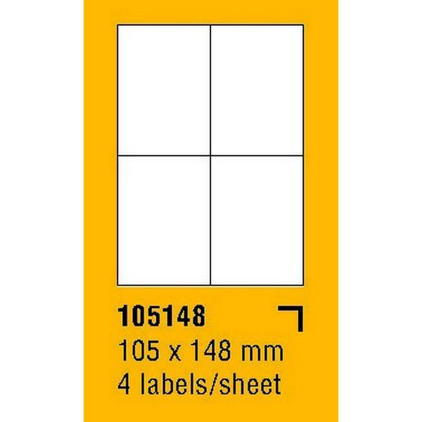 Papír tiskopisy - Etikety na archu SOREX - A4, 105 x 148mm, 400 etiket