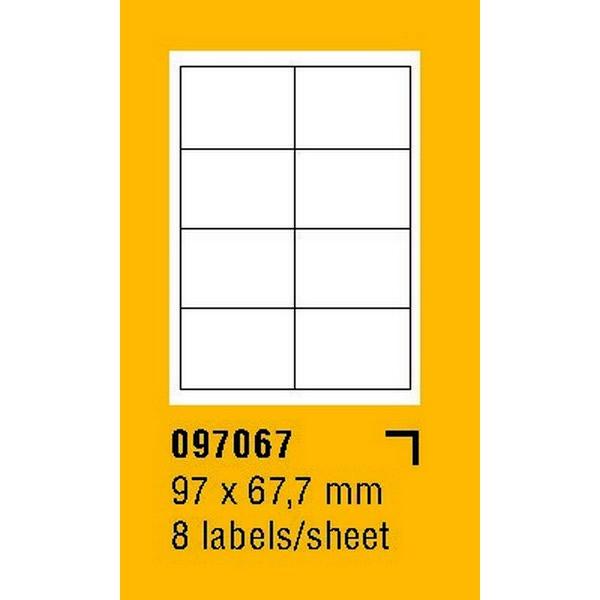 Papír tiskopisy - Etikety na archu SOREX - A4, 97 x 67,7mm, 800 etiket