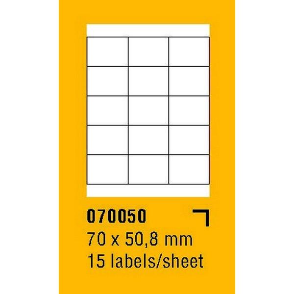 Papír tiskopisy - Etikety na archu SOREX - A4, 70 x 50,8mm, 1500 etiket