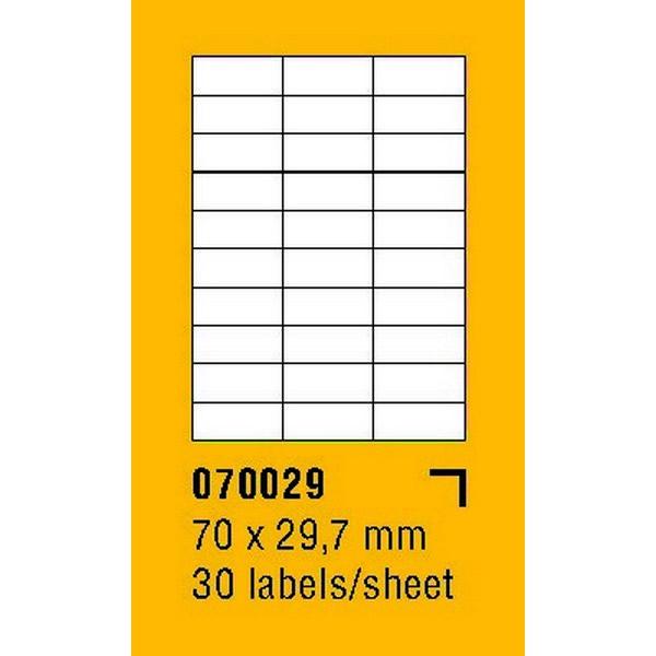 Papír tiskopisy - Etikety na archu SOREX - A4, 70 x 29,7mm, 3000 etiket