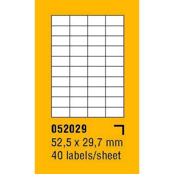 Papír tiskopisy - Etikety na archu SOREX - A4, 52,5 x 29,7mm, 4000 etiket