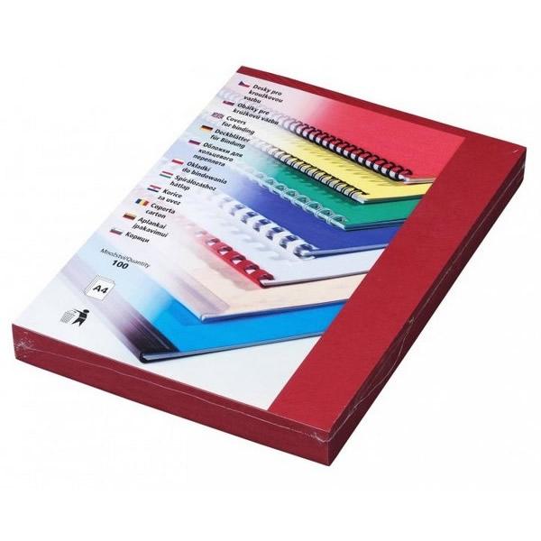Kancelářská technika - Desky kartonové Delta A4 tmavě červené, 100ks