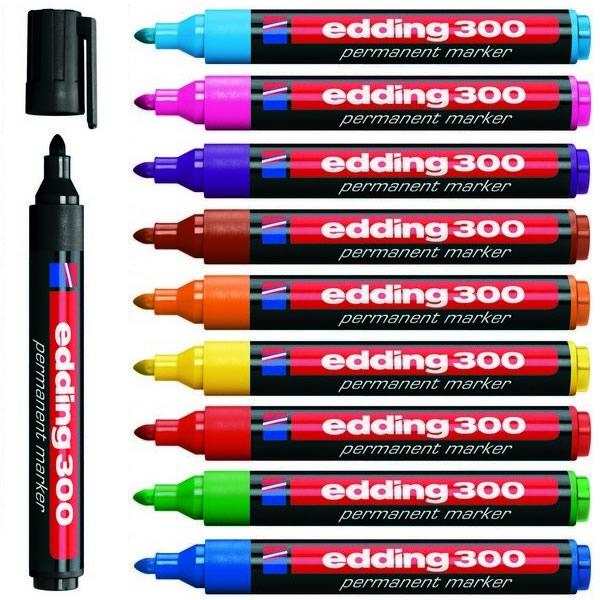 Psací potřeby - Popisovač průmyslový permanent Edding 300 - 10ks