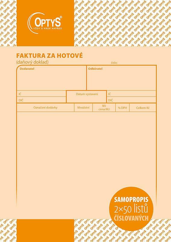 Papír tiskopisy - Faktura za hotové A5, samopropisovací, číslovaná, 2 x 50 listů
