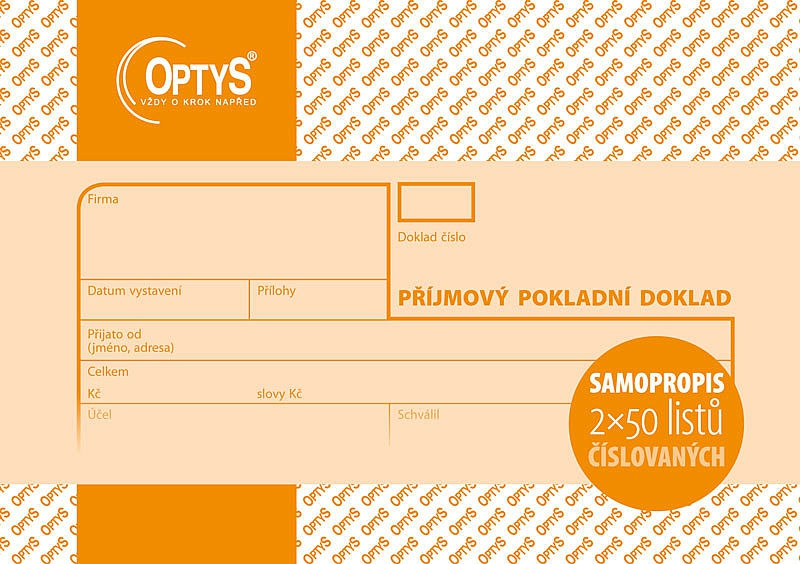 Papír tiskopisy - Příjmový doklad A6, samopropisovací, číslovaný, 2 x 50 listů