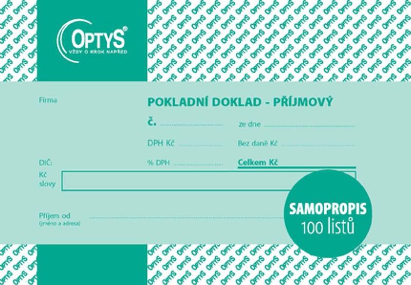 Papír tiskopisy - Příjmový doklad s DPH A6, jednoduchý, samopropisovací, 100 listů