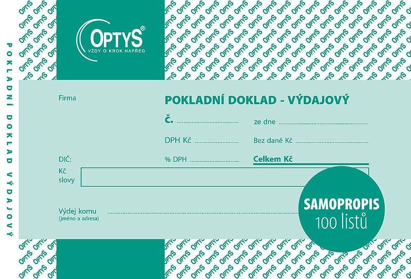 Papír tiskopisy - Výdajový doklad s DPH A6, jednoduchý, samopropisovací, 100 listů