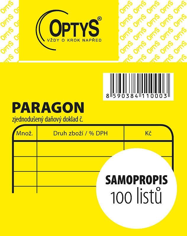 Papír tiskopisy - Obchodní paragon, samopropisovací, 7,5 x 9,5 cm