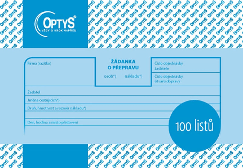 Papír tiskopisy - Žádanka o přepravu A6, 100 listů